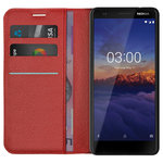 Leather Wallet Case & Card Holder Stand for Nokia 3.1 - Red